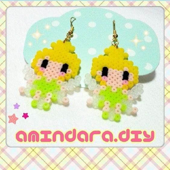 Tinker Bell earrings hama beads by amindara_diy