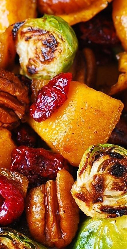 Roasted Brussels sprouts, Cinnamon Butternut Squash, Cranberries, Pecans