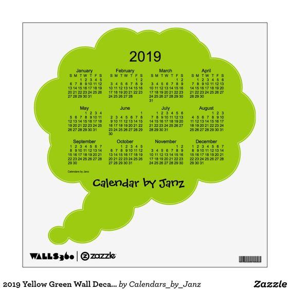 2019 Yellow Green Wall Decal Calendar by Janz Green walls, Green