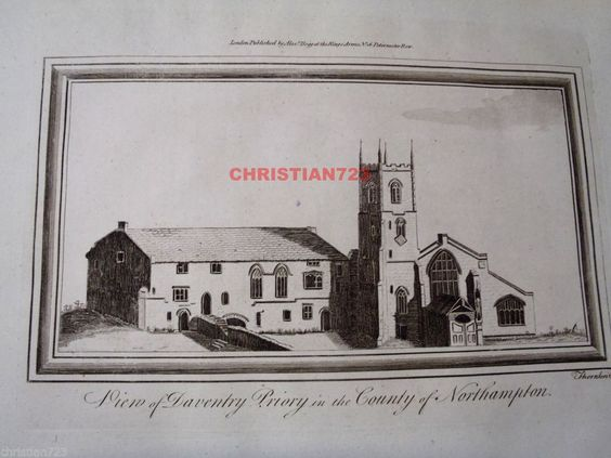 VIEW OF DAVENTRY PRIORY NORTHAMPTON ENGRAVING FROM 1802  ENGLISH TRAVELLER #Vintage