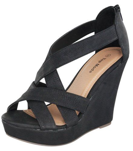 Top Moda Ella-18 Womens Strappy Open Toe Platform Black Wedge ...