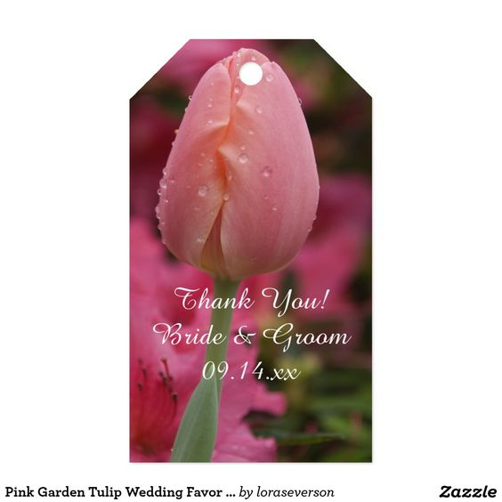 Pink Garden Tulip Wedding Favor Tags Pack Of Gift Tags