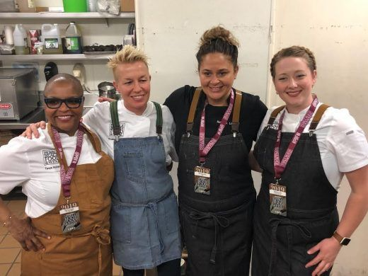 chef tanya holland chef elizabeth falkner chef antonia lofaso and chef kelsey larson all wearing chef works gear chef wear chef uniform how to wear pinterest