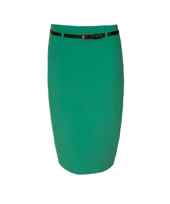 High Waist Belted Pencil Skirt, Clover