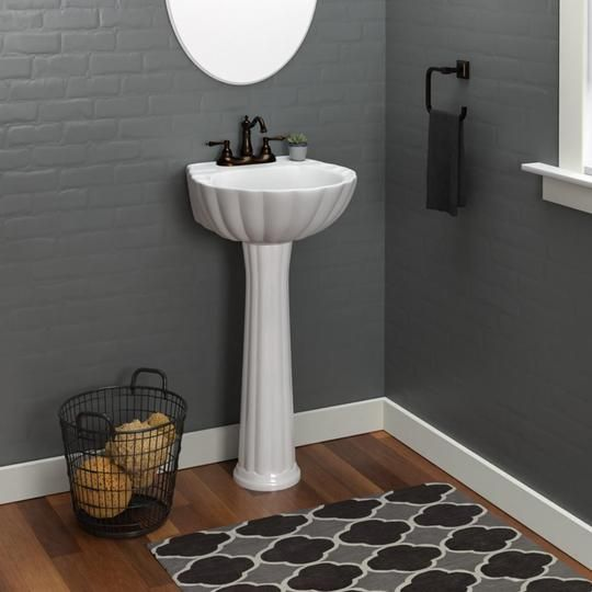 Alma Vitreous China Pedestal Sink With Images Pedestal Sink