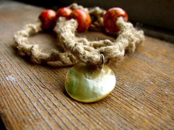Intrinsic  Rouge Printed Wood Beaded Hemp Necklace by ecocreations