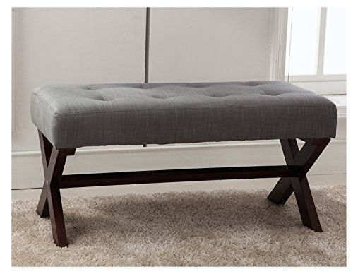 Cheap Fabric Upholstered Entryway Ottoman Bench Large Rectangular Footstool Gray Rustic Bench Seat With X Shaped Rubber Wood Legs For Living Room Bed Room Hal Bedroom Bench Seat Upholstered Bench Bedroom Upholstered Entryway