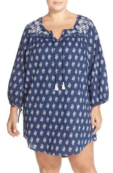 Lucky Brand Print Cotton Sleepshirt (Plus Size)