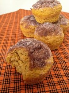 Pumpkin Muffins. Made with butter, non-fat yogurt, unsweetened applesauce, flour, whole wheat pastry flour, baking powder, baking soda, salt, nutmeg, allspice, cinnamon, buttermilk, pumpkin puree, vanilla, light brown sugar, and eggbeaters.