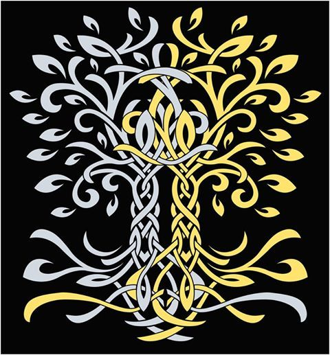 Telperion and Laurelin, the Two Trees of old in Tolkien's The Silmarillion.: