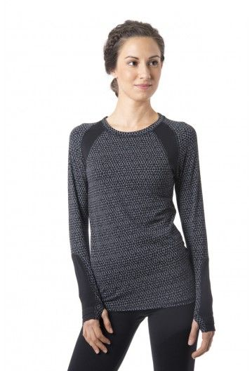 Aspire LS T - Women's long sleeve workout and running shirt with thumb holes in black and white.