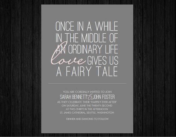 Wedding Quotes For Invitations: Love The Wording. Printable Fairy Tale Wedding Invitation