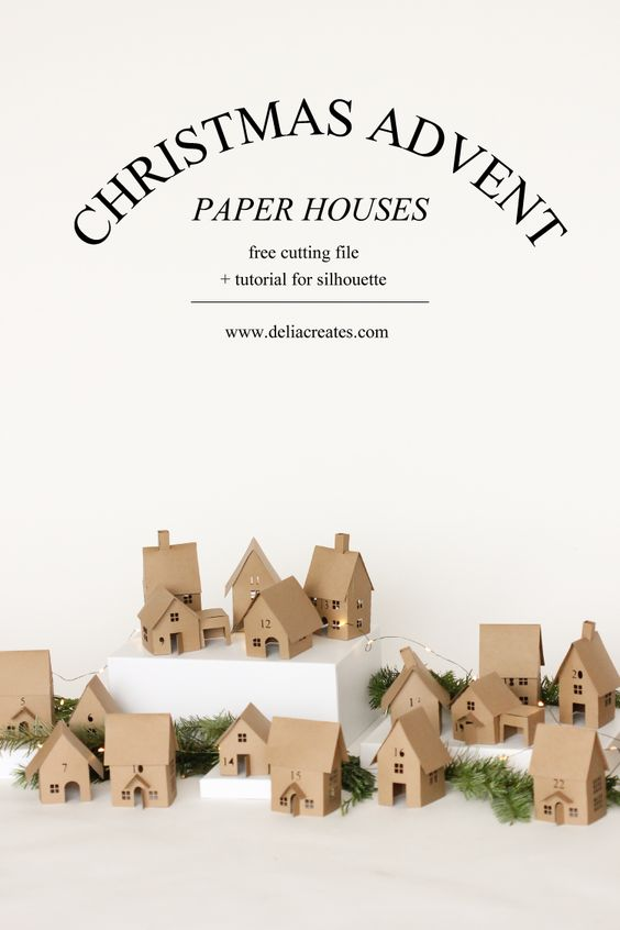 Christmas Advent Paper Houses - free tutorial and cutting files // Delia Creates: