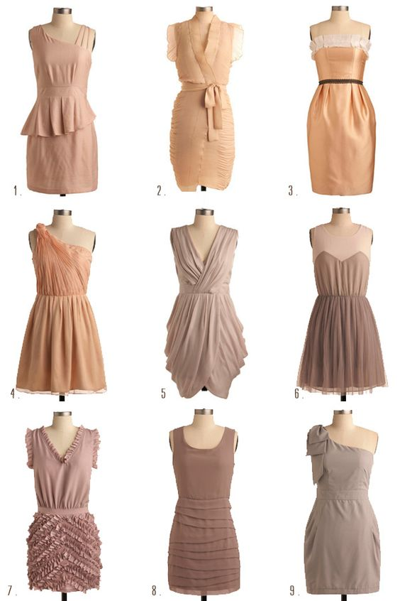 Sand, copper, and brown bridesmaid dresses: