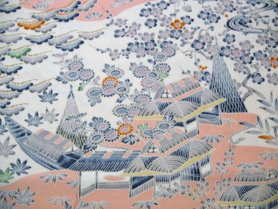 RARE Yuzen Landscape scene Vintage Japanese Tango by CosimaOrimono
