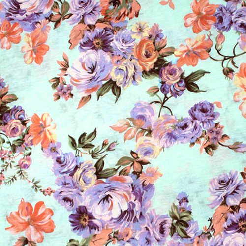 Lavender Peach Floral On Pale Aqua Cotton Jersey Blend Knit Fabric A Gorgeous Designer Overstock Score Pastel Roses I Pale Aqua Fabric Colorful Backgrounds