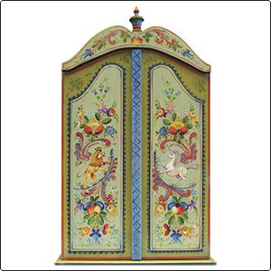 Jo Sonja  This light, airy style of Rosemaling reminds you of bouquet of wild flowers that delights the eye and imagination. The unicorn and lion on the curved sword are traditional heraldic designs found on many Norwegian items from other areas.