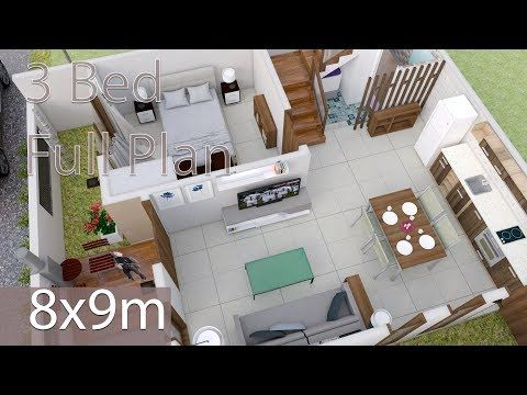 Home Design Plan 13x17m With 3 Bedroom Modern Style Two Storey