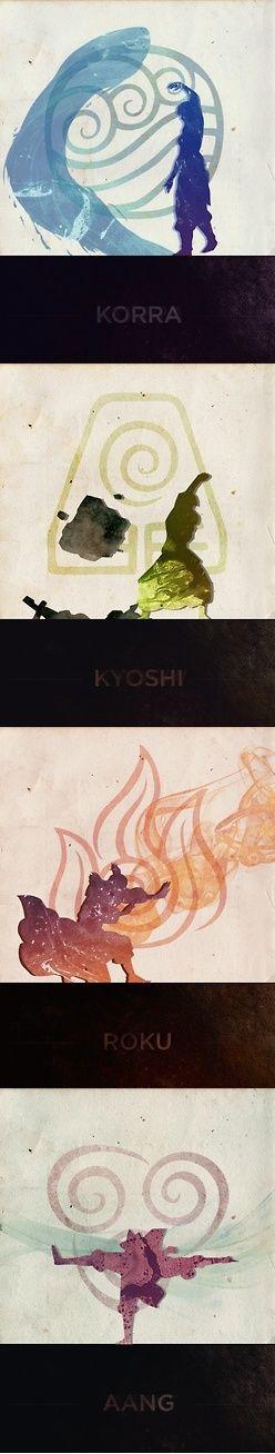 Water, Earth, Fire, Air Avatars. Korra, Kyoshi, Roku, Aang