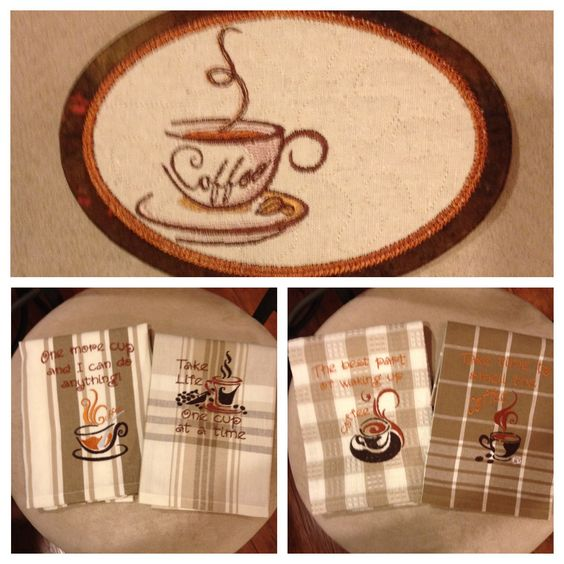 Coffee Themed Kitchen Towels & Mug Rug.