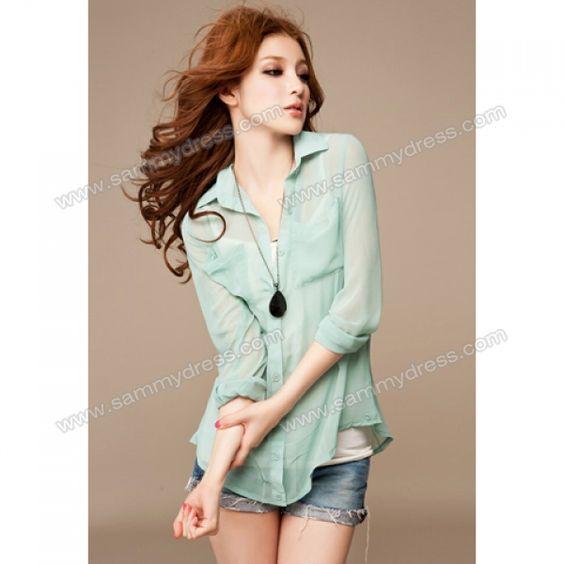 Sammydress.com: Photo Gallery - Stylish Long Sleeve Perspective Chiffon Shirt for Women