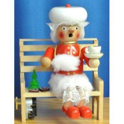 PinnaclePeak Steinbach Signed Mrs. Claus Sitting on Bench Musical German Incense Smoker