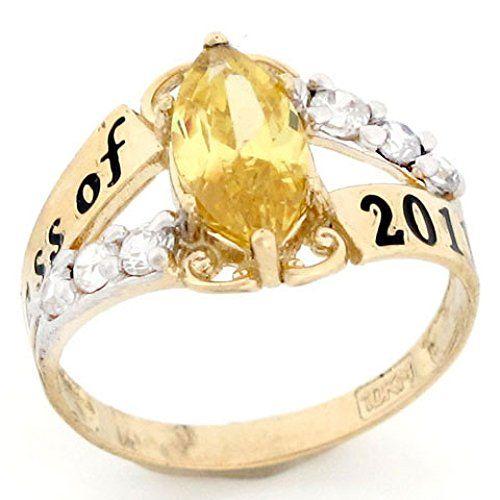 10k or 14k Two-Tone Gold Simulated Citrine November Birthstone Ring