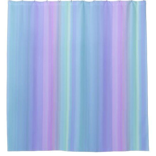 Blue Purple Green Pastel Stripes Shower Curtain Zazzle Com
