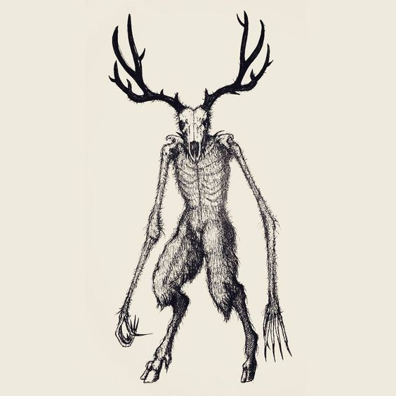 Pin By Midorikyun On American Mythology Creepy Drawings Wendigo Mythological Creatures