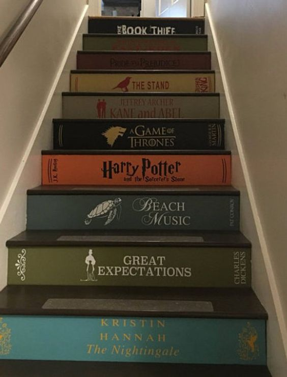 Book spine decal Stair Riser decals Stair case stickers | Etsy