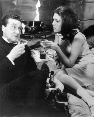 Diana Rigg in Avengers by Fireplace Champagne Photo