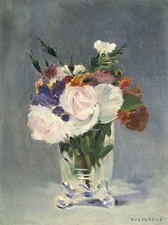 Édouard Manet (1832-1883)  Flores numa Jarra de Cristal, c. 1882  Óleo sobre tela, 32,7 x 24,5cm  National Gallery of Art, Washington DC, Alisa Mellon Bruce collection.: