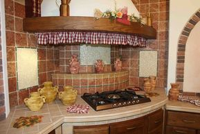 Cucina In Muratura In Massello Di Frassino Con Particolare Angolo
