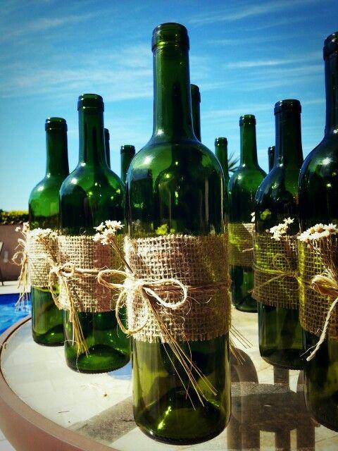 decoracao casamento juta : decoracao casamento juta:Decoração com garrafas e juta.