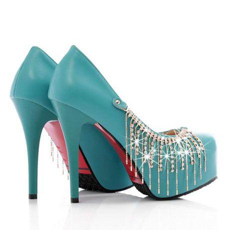 Stiletto Heel Turquoise PU Platform Pumps With Diamante Chains