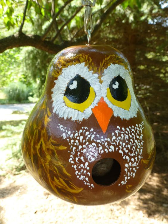 Owl Hand Painted Gourd Birdhouse Adorable Designs by Sugarbear - So Sweet! on Etsy, $49.99