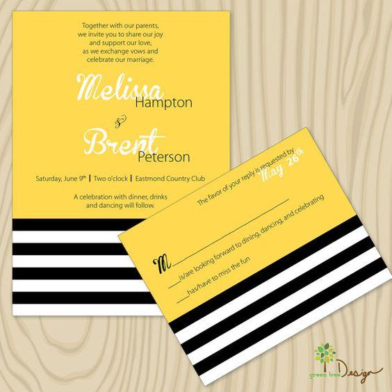 Custom Wedding Invitation  yellow black white by GreenTreeWedding, $4.00