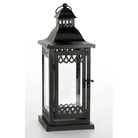 Metal Table Lantern with Glass Sides  A little more lacy than the standard lanterns.  Maybe nice for carrying?