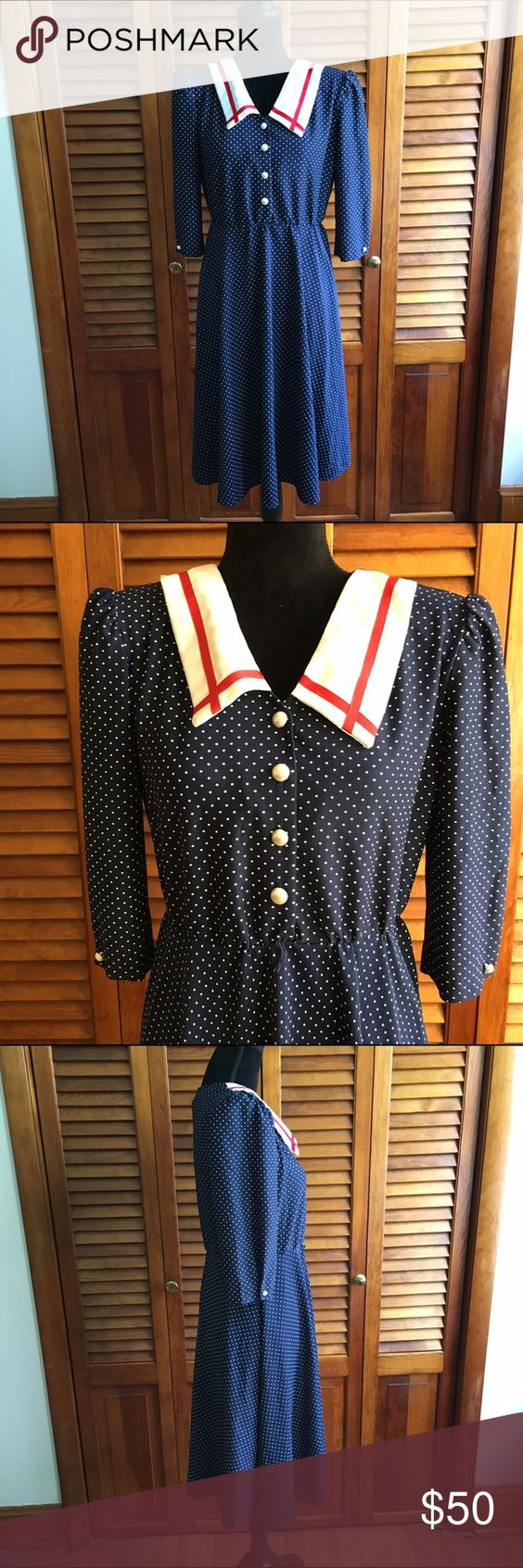 Vintage 80s Sailor Dress Vintage 80s navy blue, white and red polka dot dress with chunky collar, buttons, and removable shoulder pads. Has loops for a belt but does not come with one. Stretchy around the waist and very comfortable to wear. Lined and not see through at all. Super unique and true vintage. Hits about to the knee or a little below depending on how tall you are. Not a mini dress. Fits a size M best. Kawaii, lolita, sailor, navy, nautical, vintage, 80s, collectable, gunne sax…