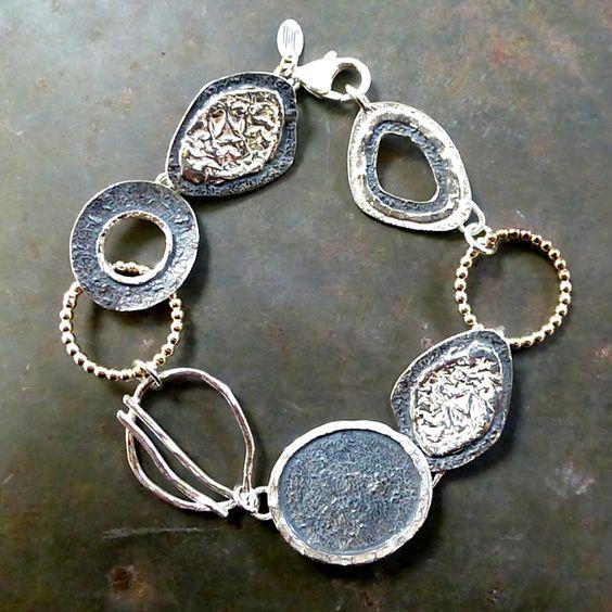18480 - Bracelet 925 sterling silver gloss, oxidised & Gold Filled