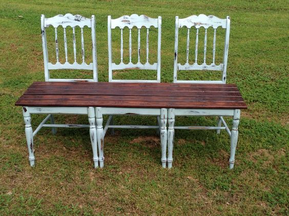 Bench I Made Out Of My Great Grandparents Old Chairs And