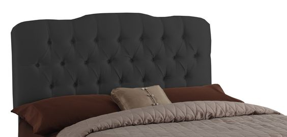 Skyline Furniture Surrey King Shantung-Upholstered Tufted Headboard, Black