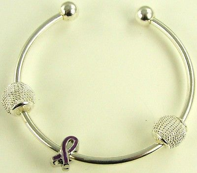 Purple Ribbon Awareness on Silver Plated Cuff Bracelet - Buy 1 Give 1