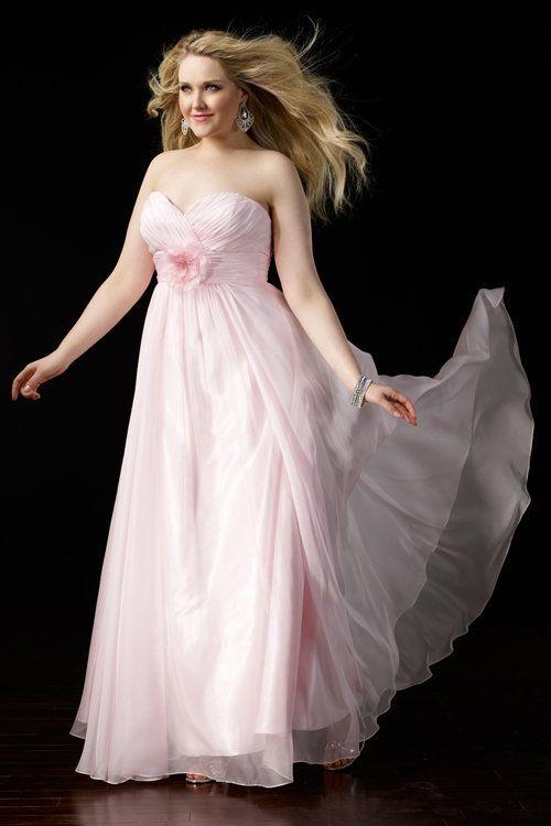 Robe rose longue bustier coeur orné de fleur ligne A