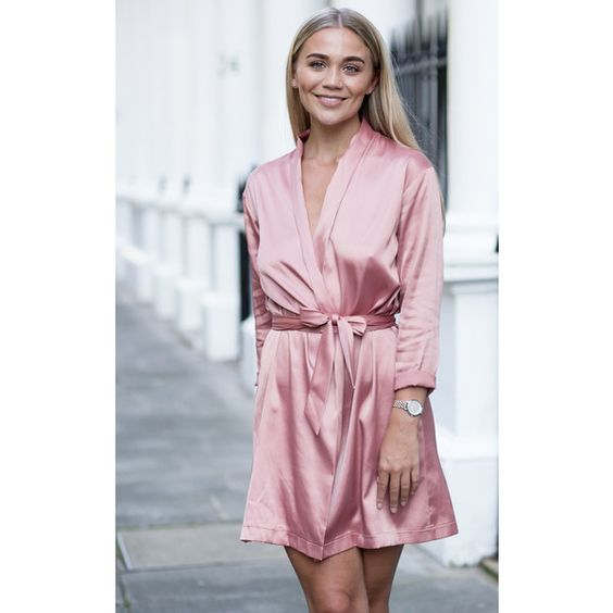 Pretty Lavish Dusty Pink Satin Wrap Dress ($49) ❤ liked on Polyvore featuring dresses, pink, tall dresses, pink satin dress, satin dress, satin wrap dress and pink wrap dress