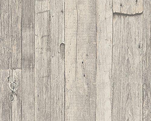 A.S. Création Tapete Dekora Natur, Mustertapete in Vintage-Holzoptik, beige, creme, grau, 959311