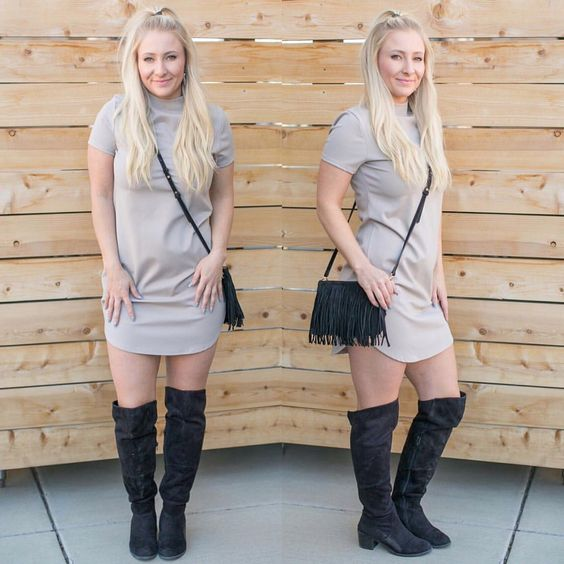 High Neck Short Sleeve Dress {$36} // Fringe Mighty Purse {$150} Call (303)-955-7452 to order! We ship! #ApricotLaneCentennial #weekend #happiness #dress