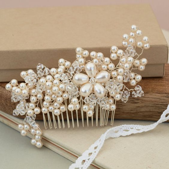 Maya Pearl Hair Comb Flora Headpiece  Wedding Headdress Handmade Bridal Ivory Pearls Silver Hair Accessories Bridesmaid Hair Comb