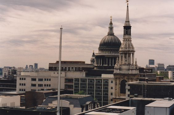 St Paul's Cathedral and St. Mary le Bow Oct 1993. Taken from Mercer's Hall Livery Company