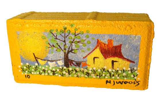 Hand-painted brick by my mom, NJ Woods!: